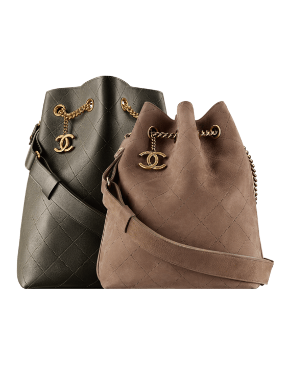 Chanel Dark Khaki Calfskin Large and Brown Suede Small On My Shoulder Drawstring  Bags 506e617113a92