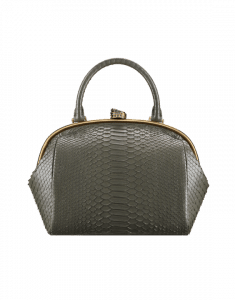 Chanel Dark Khaki Python Retro Donna Large Bowling Bag