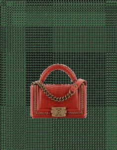 Chanel Dark Red Python Boy Chanel Handle Flap Small Bag
