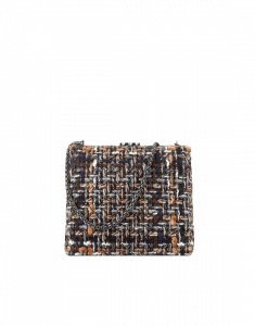 Chanel Navy Blue/Brown/Ecru Tweed Kiss Lock Bag