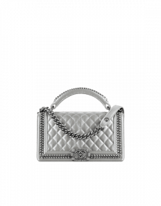 Chanel Silver Boy Chanel Handle Flap Medium Bag