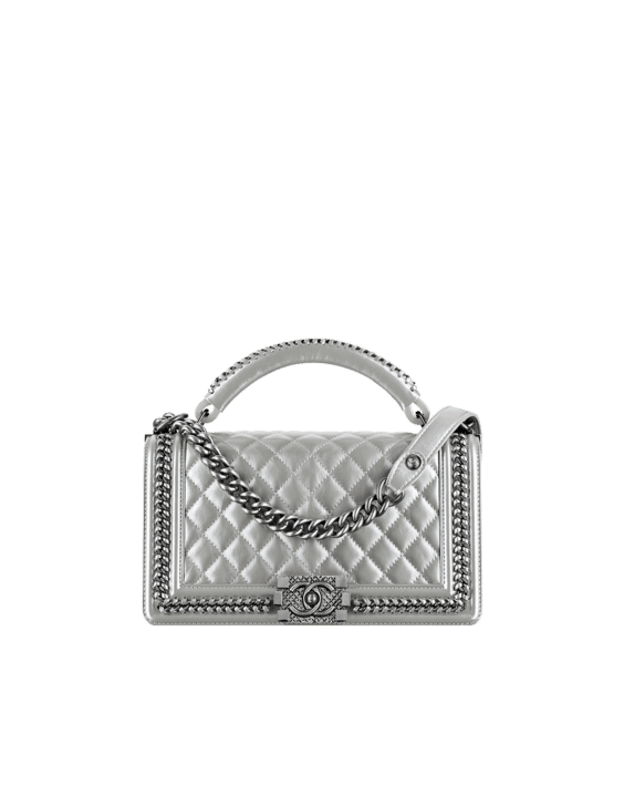 e000e7653214 Chanel Silver Boy Chanel Handle Flap Medium Bag