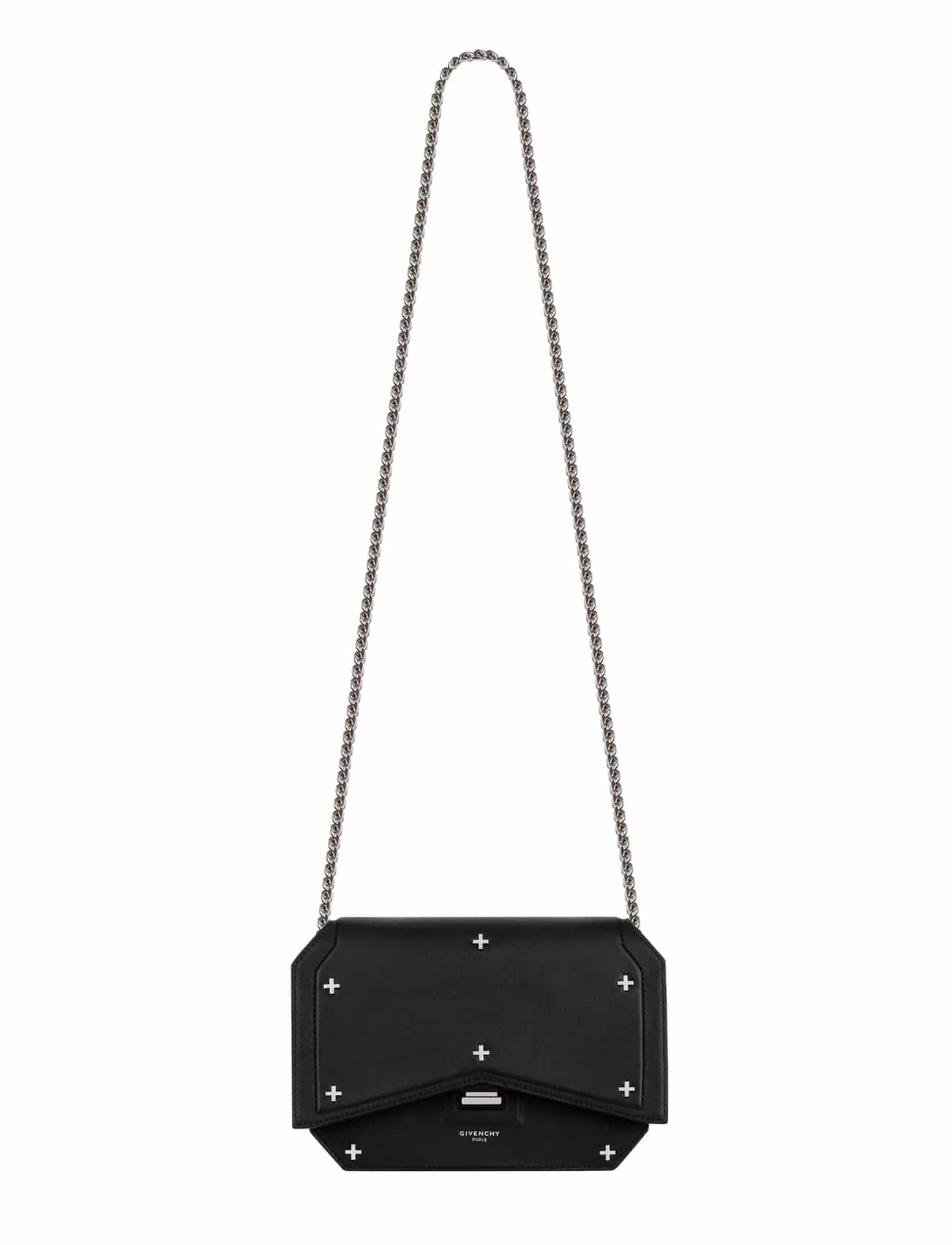 28a113b631 Givenchy Black Embellished with Metal Crosses Bow-Cut Cross-Body with Chain  Bag