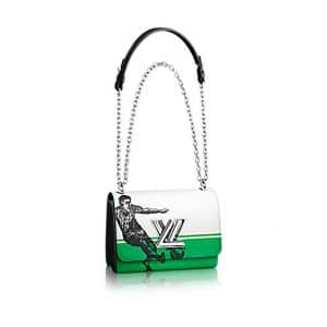 Louis Vuitton White/Green:Black Epi Football Print Twist MM Bag