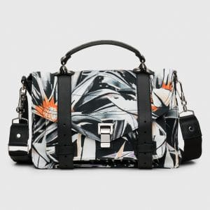 Proenza Schouler Black/White Floral Print Nylon PS1 Medium Bag