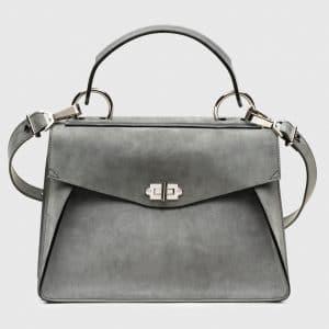 Proenza Schouler Heather Grey Suede Hava Medium Top Handle Bag