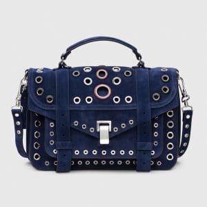 Proenza Schouler Indigo Suede with Grommets PS1 Medium Bag