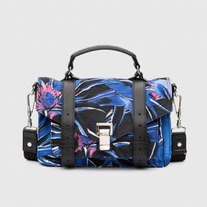 Proenza Schouler Indigo/Amethyst Floral Print Nylon PS1 Tiny Bag