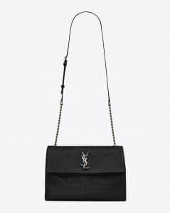 Saint Laurent Black Crocodile Embossed Monogram West Hollywood Medium Bag