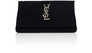 Saint Laurent Black Suede Monogram West Hollywood Clutch Bag