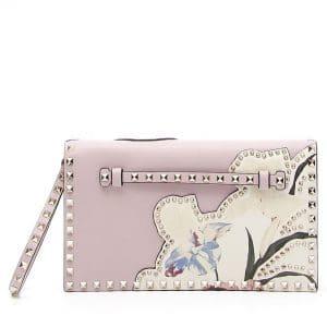 Valentino Pink Kimono 1997 Print Rockstud Clutch Bag