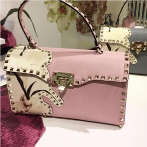 Valentino Pink Kimono 1997 Print Rockstud Satchel Bag