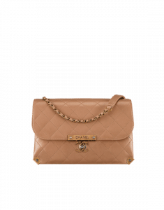 Chanel Beige Lambskin Flap Bag