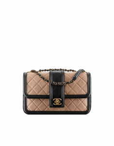 Chanel Beige/Black Quilted Calfskin Small Flap Bag