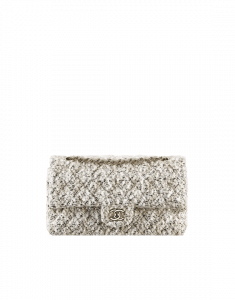 Chanel Beige/Black Tweed and Lambskin Medium Classic Flap Bag
