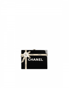 Chanel Black Brass and Resin Gift Box Evening Bag