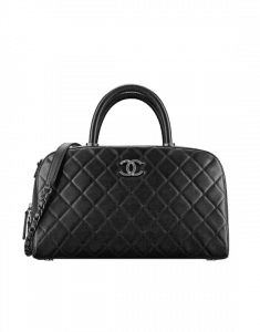 Chanel Black Calfskin Coco Handle Bowling Bag