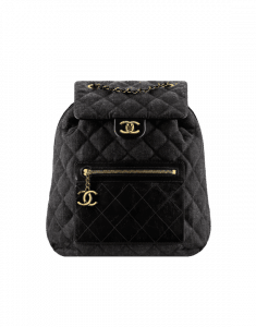 Chanel Black Denim and Calfskin Backpack Bag