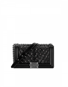 Chanel Black Embroidered Chevron Python Old Medium Boy Chanel Flap Bag