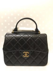 Chanel Black Gold Bar Top Handle Bag 2