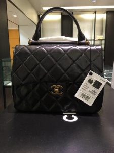 Chanel Black Gold Bar Top Handle Bag