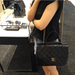 Chanel Black Gold Bar Top Handle Bag 4