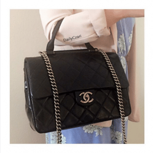 Chanel Black Gold Bar Top Handle Bag 9