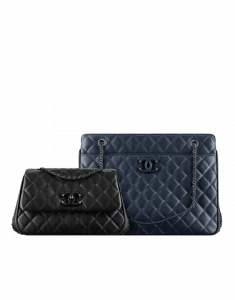 Chanel Black Mini Flap and Navy Blue Tote Quilted Calfskin Bags