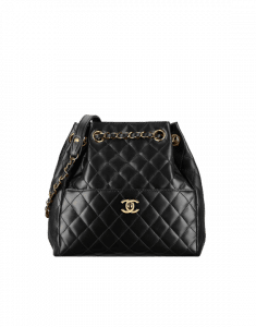Chanel Black Quilted Lambskin Drawstring Bag
