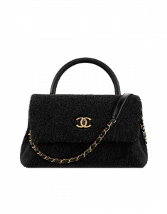 Chanel Black Shearling Sheepskin Coco Handle Bag