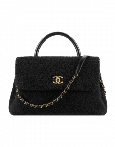 Chanel Black Shearling Sheepskin Large Coco Handle Bag