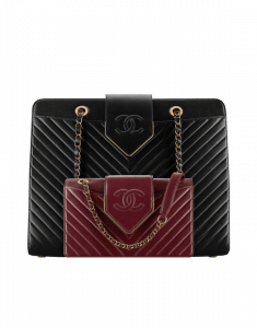 Chanel Black Tote and Burgundy Mini Flap Sheepskin Chevron Bags