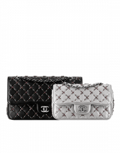 Chanel Black and Silver Embroidered Medium and Small Classic Flap Bags