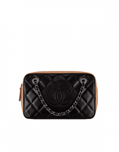 Chanel Black/Beige Calfskin/Fabric Ballerine Camera Case Bag