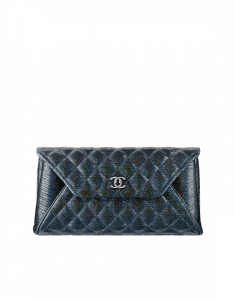 Chanel Black/Blue Glittered Sheepskin Fold Up Again Clutch Bag