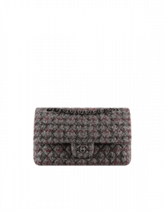 Chanel Black/Gray/Red Tweed and Lambskin Medium Classic Flap Bag