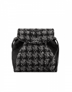 Chanel Black/Gray/White Tweed Backpack Bag