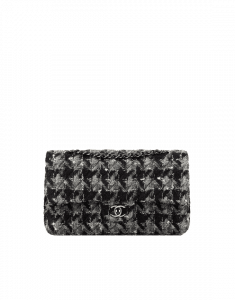 Chanel Black/Gray/White Tweed and Lambskin Medium Classic Flap Bag