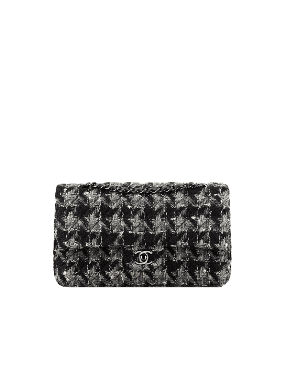 e18615a9410eb Chanel Black Gray White Tweed and Lambskin Medium Classic Flap Bag