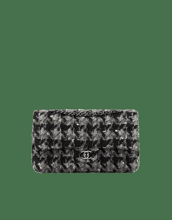 792b366c36e6 Chanel Black Gray White Tweed and Lambskin Medium Classic Flap Bag