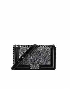 Chanel Black/Silver Embroidered Chevron Python Old Medium Boy Chanel Flap Bag