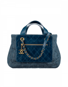 Chanel Blue Denim and Calfskin Medium Shopping Bag