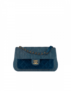 Chanel Blue Denim and Calfskin Small Flap Bag