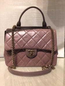 Chanel Brown Gold Bar Top Handle Bag