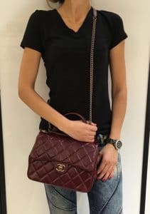 Chanel Burgundy Gold Bar Top Handle Bag 2