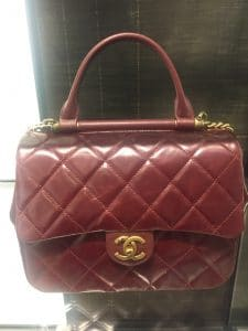 Chanel Burgundy Gold Bar Top Handle Bag