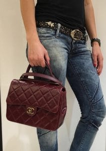 Chanel Burgundy Gold Bar Top Handle Bag 3