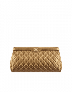 Chanel Dark Gold Metallic Grained Calfskin Large Clutch Bag
