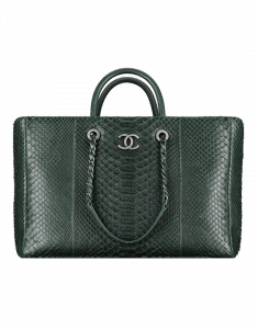 Chanel Dark Green Python Coco Handle Tote Bag