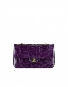 Chanel Dark Purple Alligator Medium Classic Flap Bag